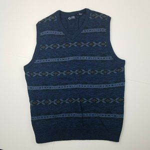 Chaps Sweater Vest Large Blue Tribal Print Vneck